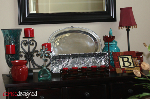 home dining red turquoise