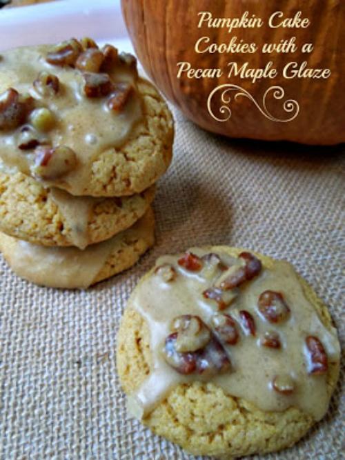 Pumpkin Cake Cookies, Cake Cookies, Maple Glaze, Maple Icing, Pecan Maple Glaze, Cookies, Dessert