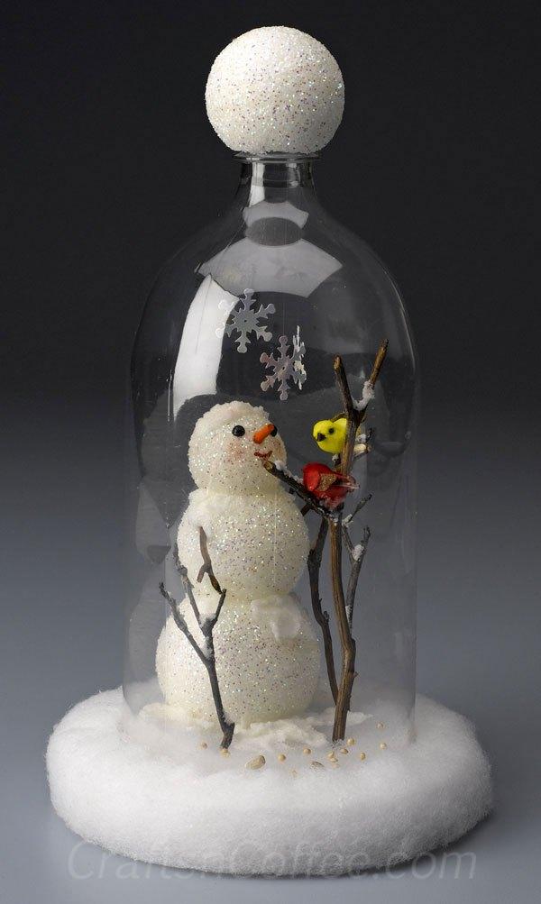 http://craftsncoffee.com/2012/01/13/make-a-snowman-cloche-from-a-soda-bottle-plus-seven-more-snowman-crafts/