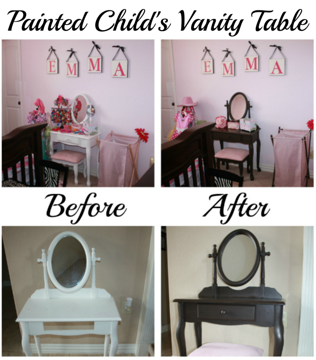 Painted Child's Vanity Table Before and After
