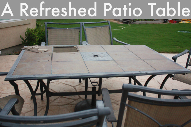 Refreshed Patio Table Before